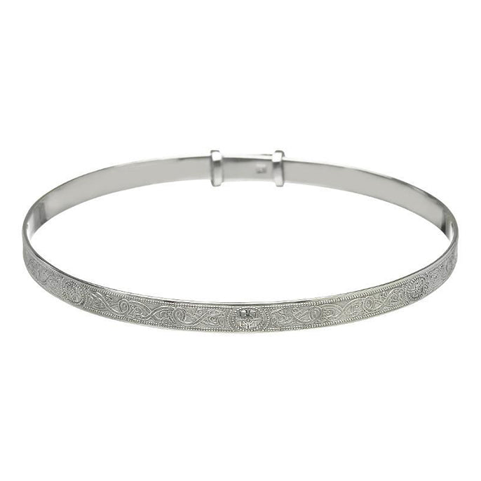 small silver warrior bangle child size by anu celtic jewellery
