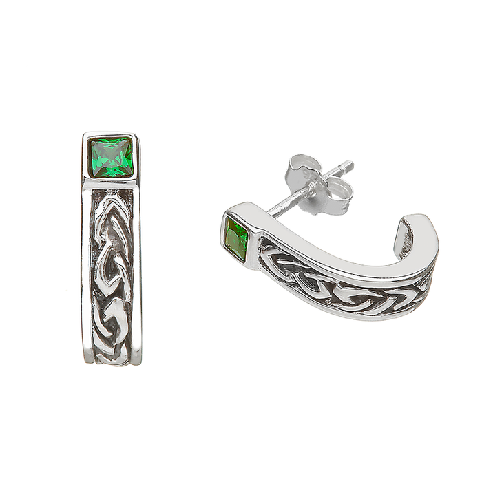 sterling silver celtic earrings with green stone by anu celtic jewellery