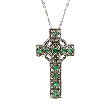 sterling silver marcasite and emerald cross necklace by anu celtic jewellery