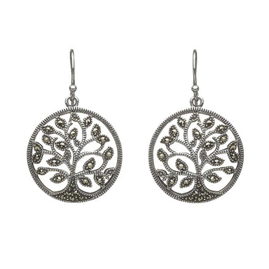 anu sterling silver marcasite tree of life earrings