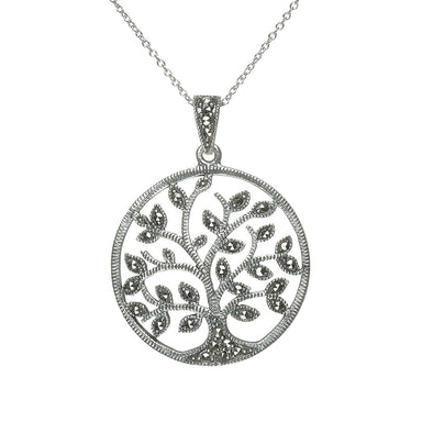 sterling silver marcasite tree of life pendant necklace by anu celtic jewellery