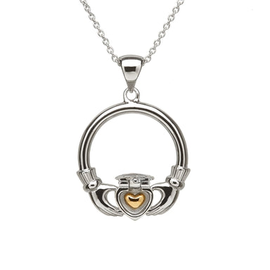 inside gold heart of sterling silver sweetheart claddagh pendant by anu