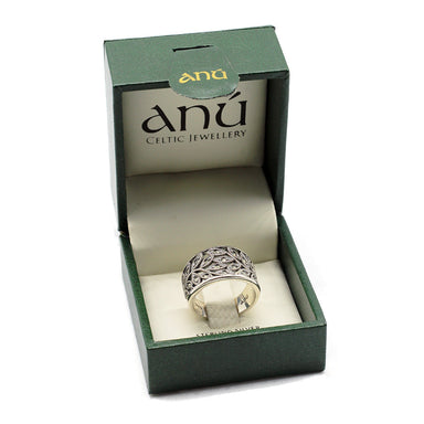 anu sterling silver tree of life marcasite ring in gift box