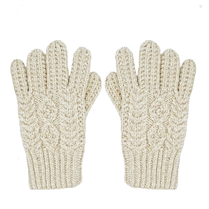handknitted adult gloves by aran woollen mills carraig donn