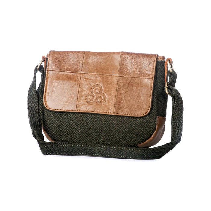 front of tweed and leather flap bag by aran woollen mills with strap