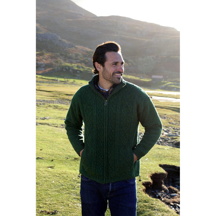 male model of cedar green full zip merino wool sweater jacket by aran woollen mills