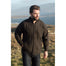 male model of charcoal full zip merino wool sweater jacket by aran woollen mills