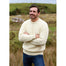 male model of merino wool crew neck sweater by aran woollen mills
