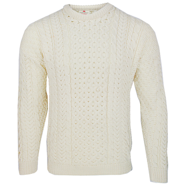 traditional irish merino crew neck sweater