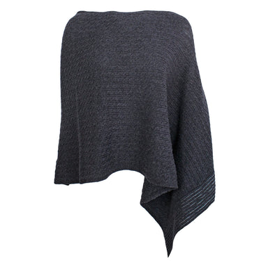 front view of avant garde one arm grey poncho by aine knitwear