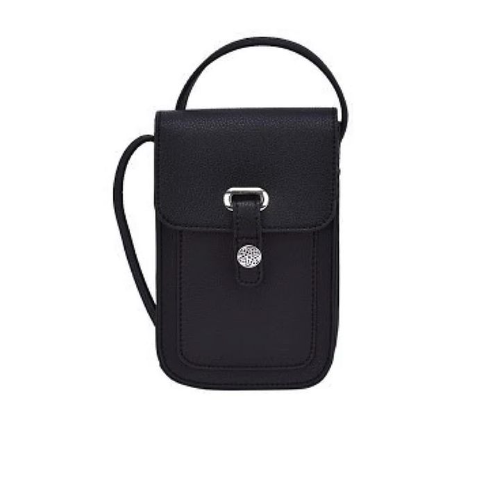 back of black mobile touch screen cross body sling bag by because i like it