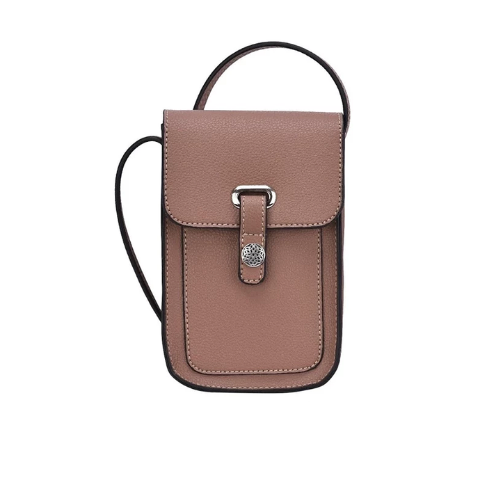 back of taupe mobile touch screen cross body sling bag by because i like it
