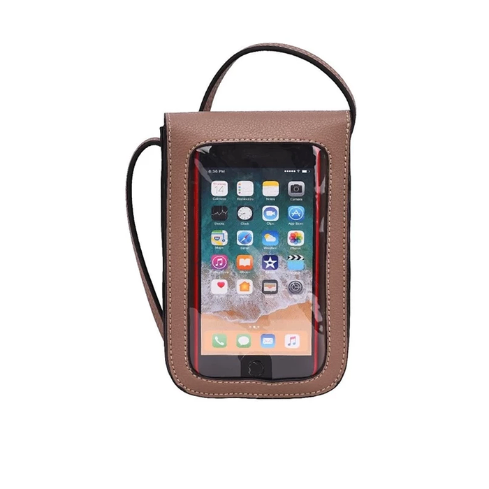 front of taupe mobile touch screen cross body sling bag by because i like it