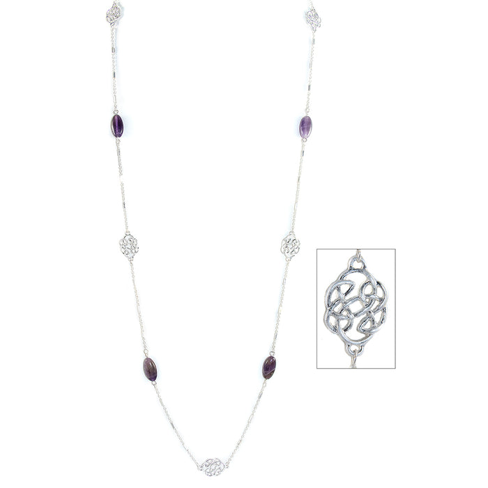amethyst long and lovely pattern silvertone necklace by because i like it