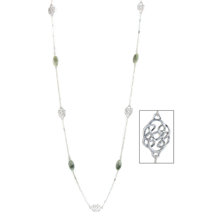 labradorite long and lovely pattern silvertone necklace by because i like it