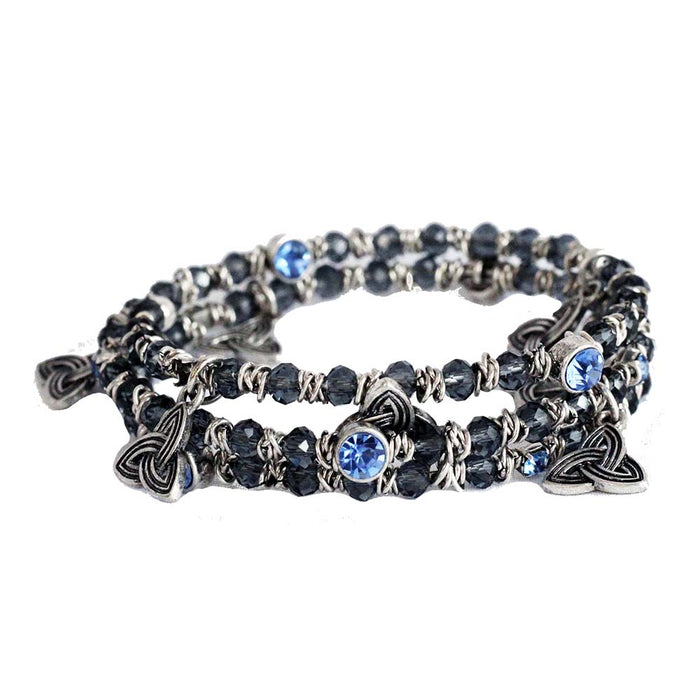 denim blue crystal trinity wrap bracelet by bili