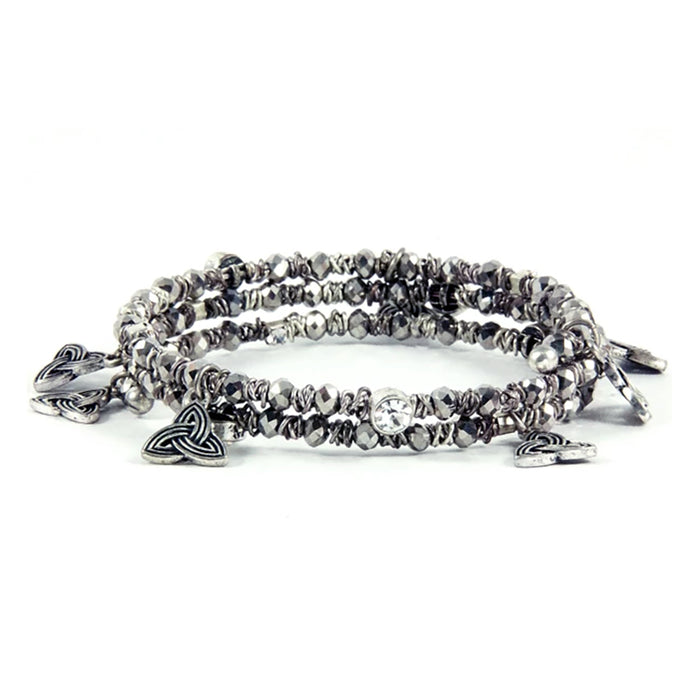 smoke grey crystal trinity wrap bracelet by bili