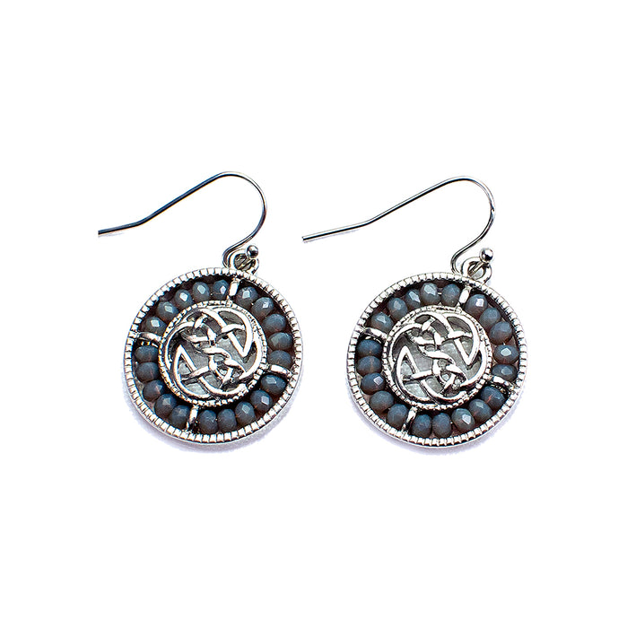 smokey grey and grey silicone glass beaded celtic earrings by because i like it
