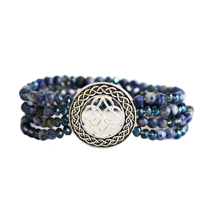 sodalite multi layer stone and glass bracelet by because i like it