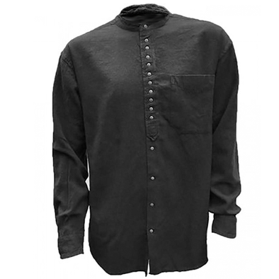 black collarless linen grandfather shirt