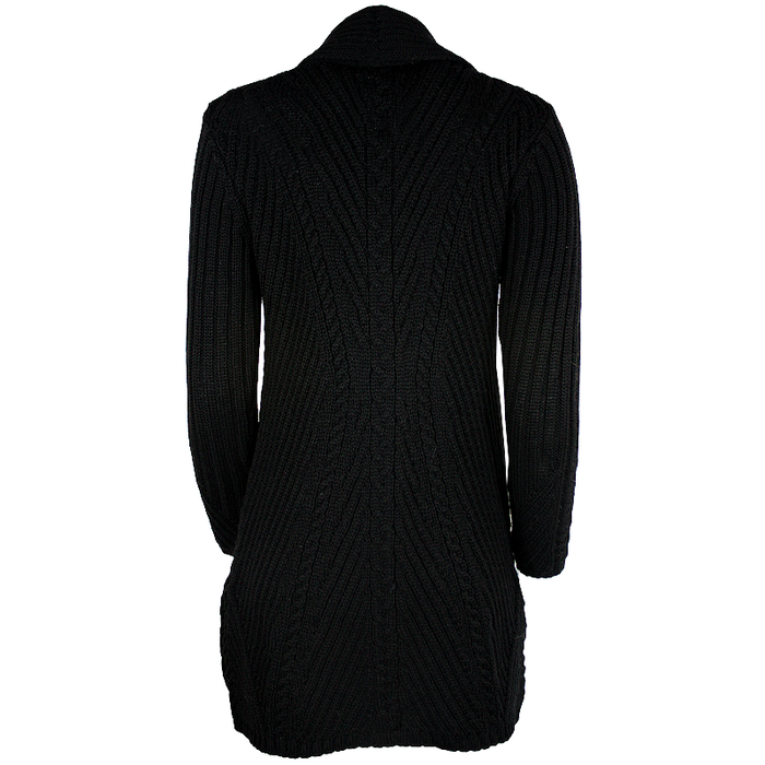 Black Ribbed Fitted Cable Knit Irish Sweater