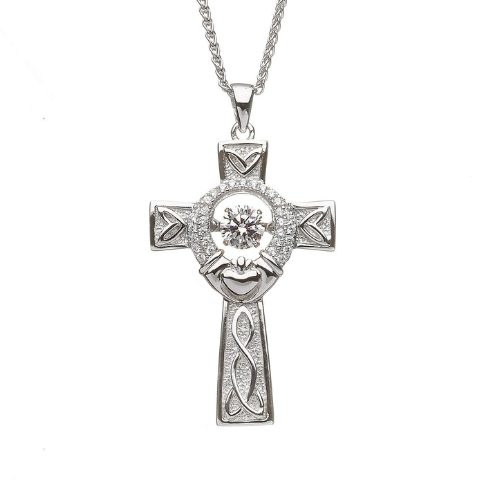 damhsa silver dancing cross and claddagh pendant by boru