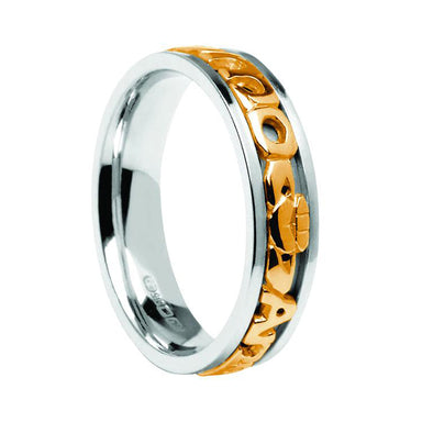 ladies mo anam cara yellow on white wedding ring by boru
