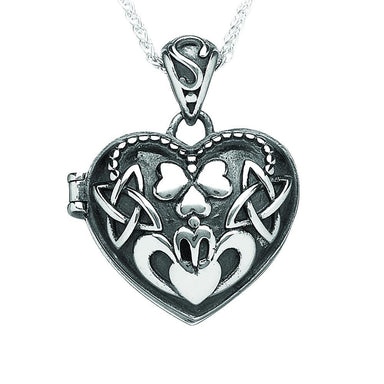 oxidizied heart claddagh shamrock locket pendant by boru