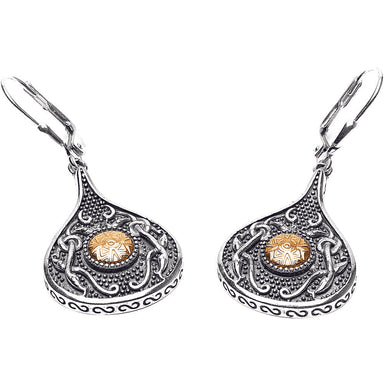 Warrior Teardrop Sterling Silver with 18K Gold Earrings