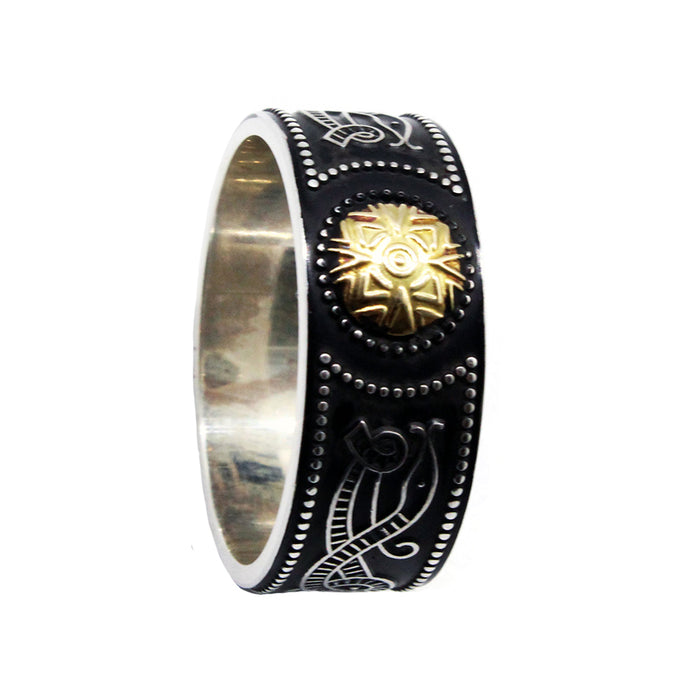 men's wide celtic warrior shield wedding ring with 18k gold by boru