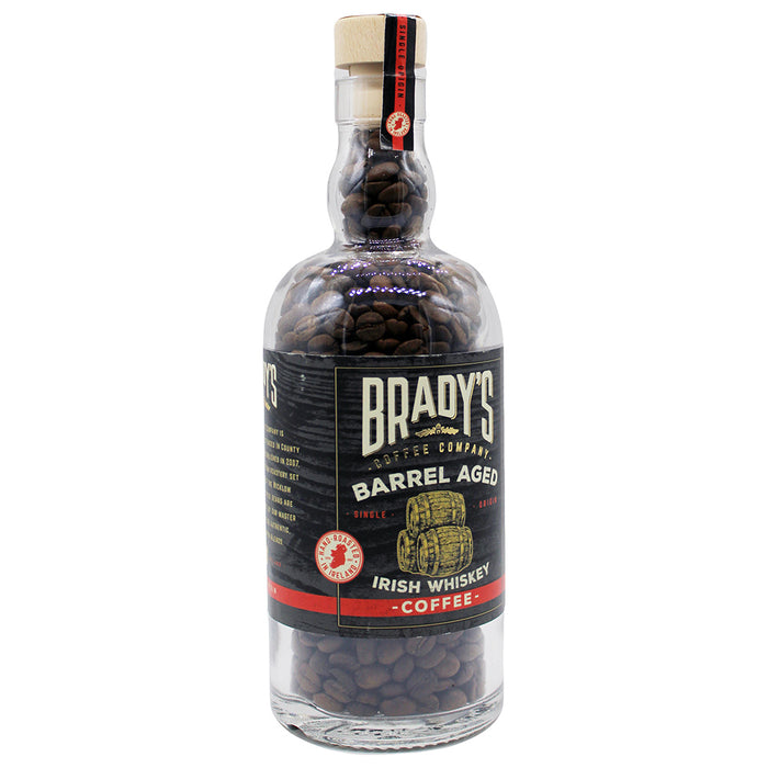brady's barrel aged irish whiskey whole bean coffee in a bottle