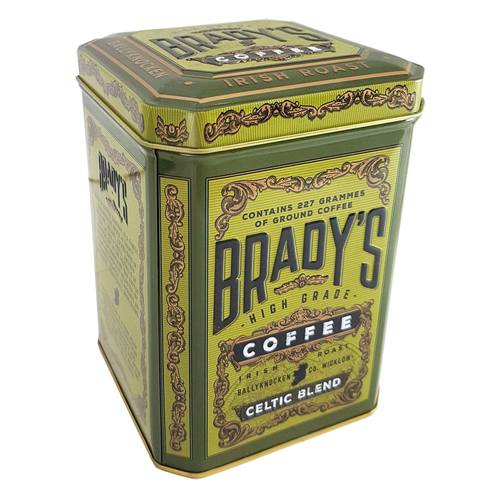 brady's celtic blend coffee in a tin