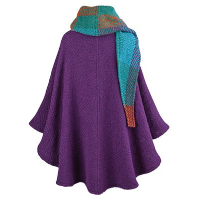 back of purple grape button down tina cape by branigan weavers