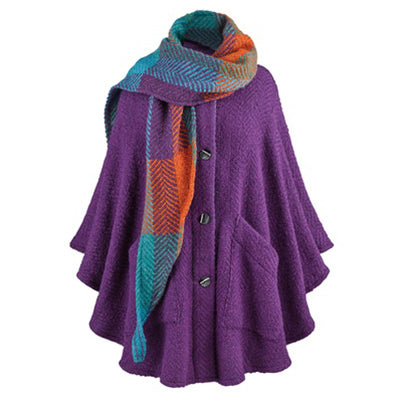 front of purple grape button down tina cape by branigan weavers