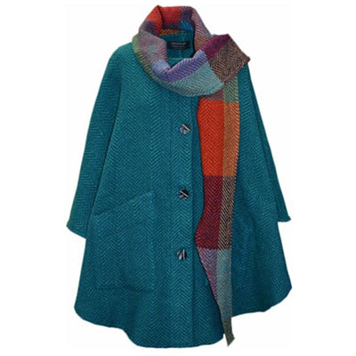 front of teal jade button down tina cape by branigan weavers