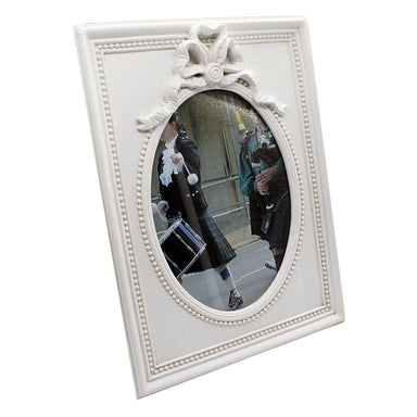 white 5x7 shamrock ribbon frame by bridgets of erin