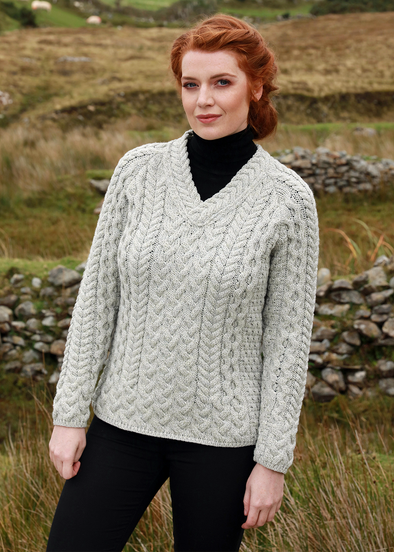 Merino Wool Fitted V-Neck Sweater made in Ireland by Aran Woollen Mills