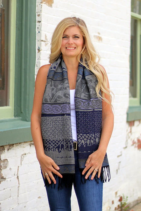 model of blue calzeat viking scarf
