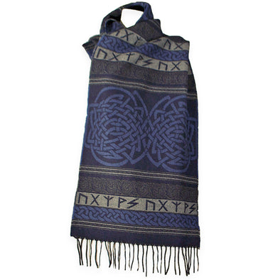 Indigo color in this Celtic Runic Scarf made in Scotland