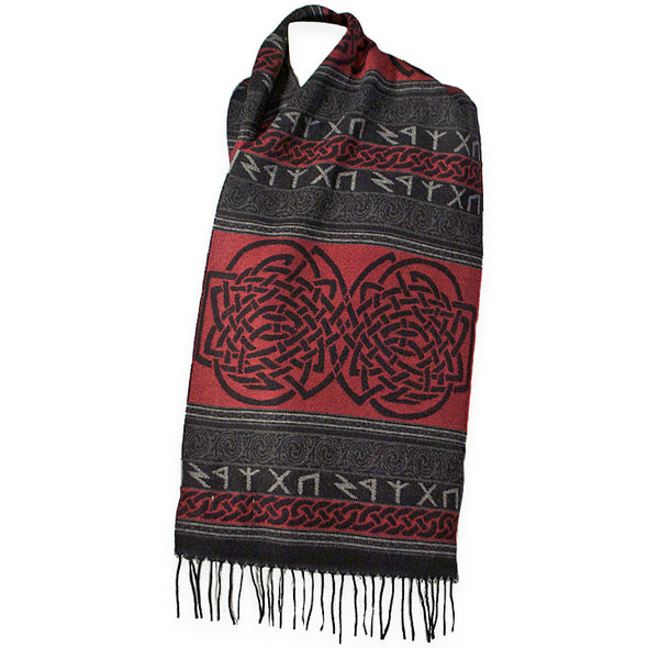 Red color in this Celtic Runic Scarf made in Scotland