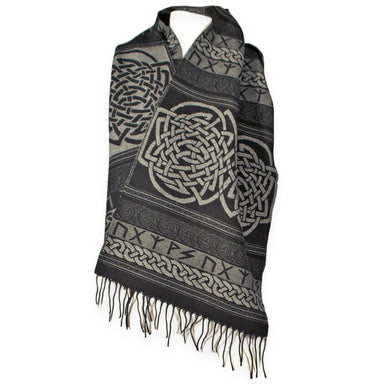 Black Celtic Runic Scarf made in Scotland