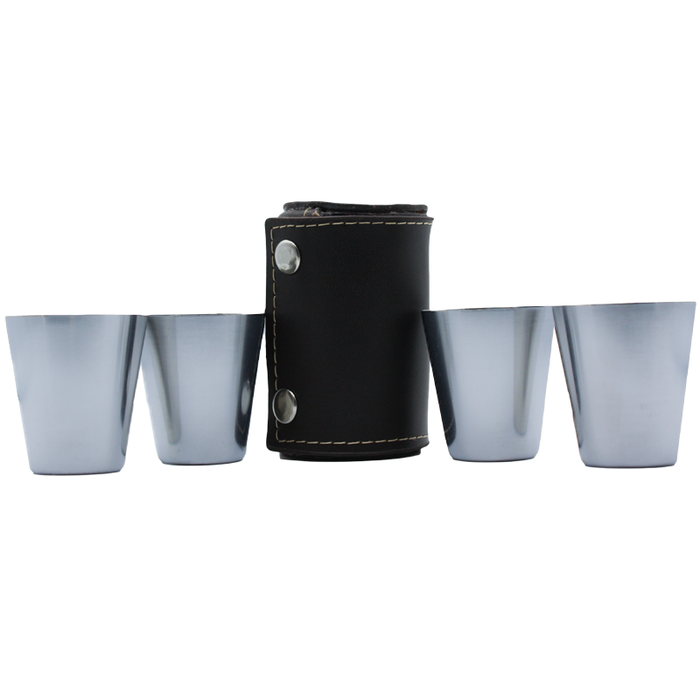 camping shot glasses with leather case