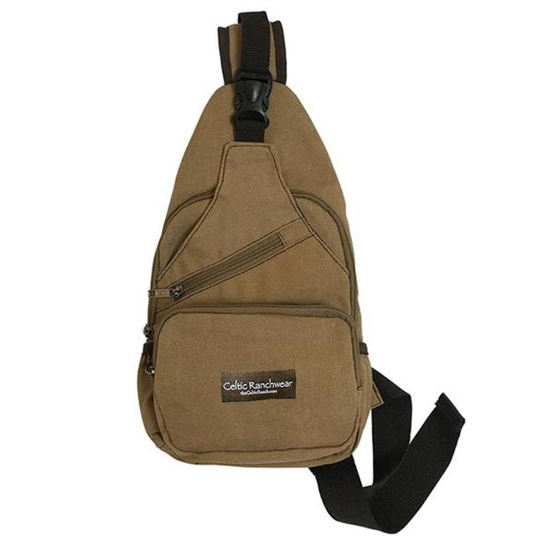 front of canvas crossbody sling bag