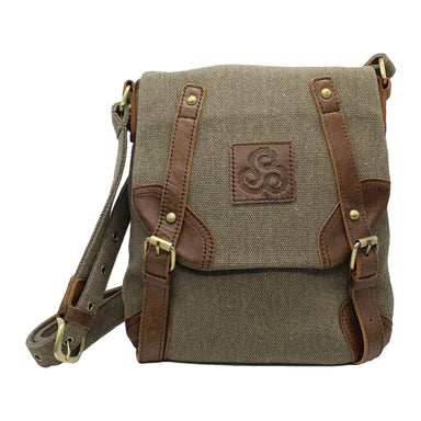 front of  tweed and leather double buckle bag by carraig donn