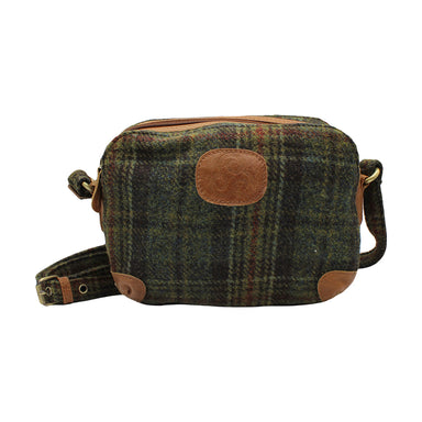 front of tweed and leather green erin check shoulder bag by carraig donn