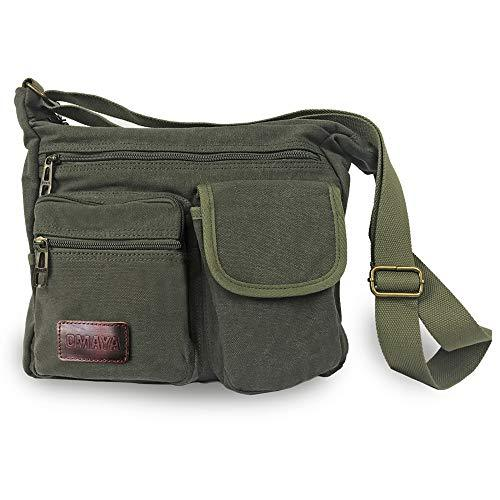 front of casual canvas messenger bag by omaya