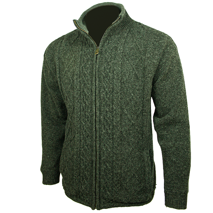 side view of mens aran woolen mills green full zip sweater cardigan