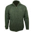 front of mens aran woolen mills green full zip sweater cardigan