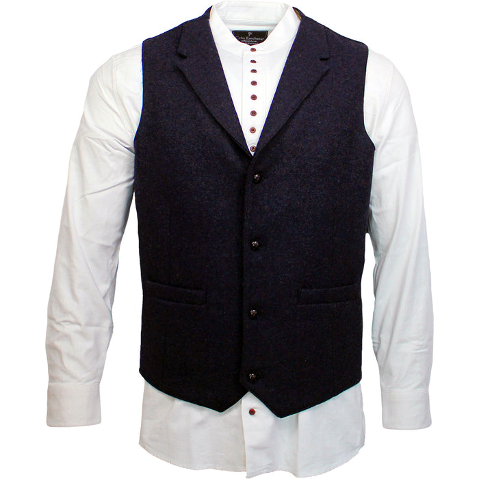 irish tweed medieval blue waistcoat with lapel by celtic gent