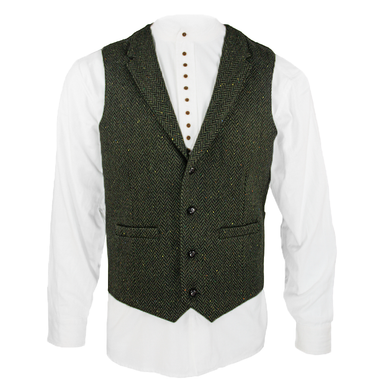 front of green herringbone wool blend waistcoat by celtic gent